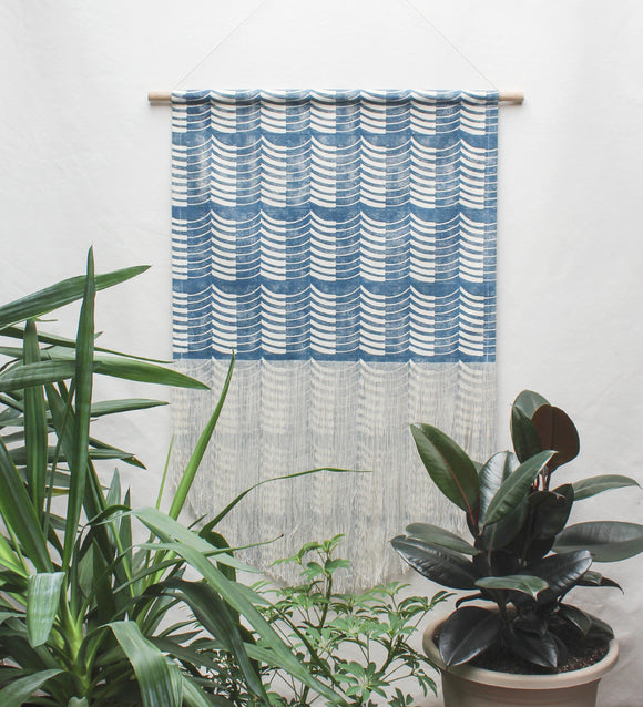Thick and Thin Wave Wall Hanging in Blue