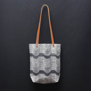 Wave Block Print Small Tote Bag