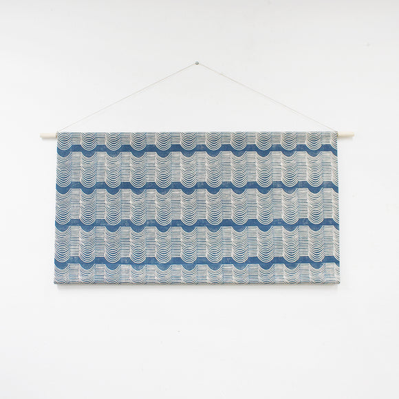 Wave Faux Headboard Wall Hanging Blue