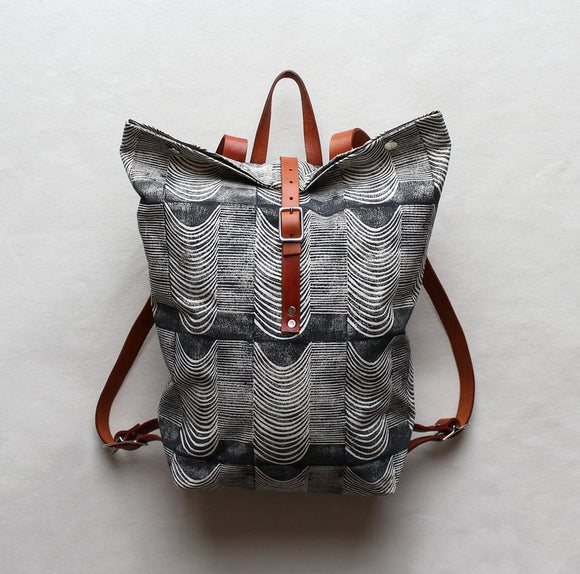 Wave Block Print Large Backpack