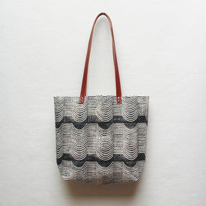 Wave Block Print Tote Bag