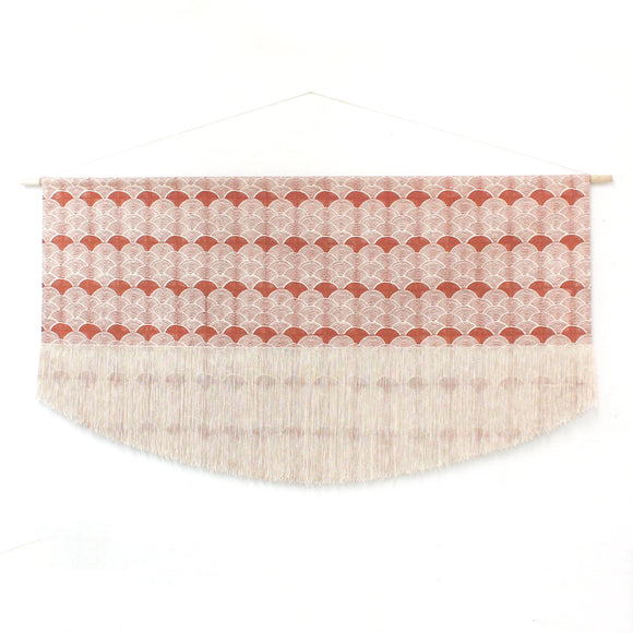 Large Block Print Scallop Fringe Wall Hanging in Burnt Orange