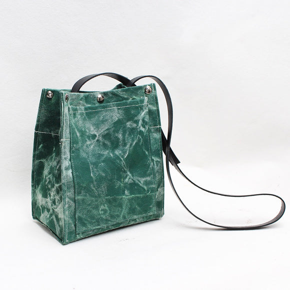 Green Marble Crossbody Tote Bag