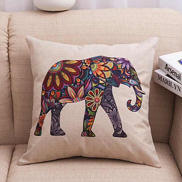 Retro Indian Elephant Cushion Cover