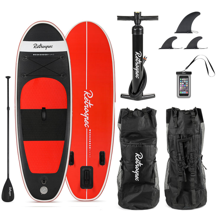 Weekender-Nano 8' MSL Inflatable Stand Up Paddleboard (SUP) | Black and Red