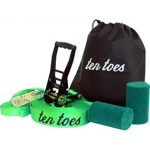 Ten Toes Boards - 50-ft Slackline with Included Training Line, Traisper Green Complete Slackline Kit, Tree Protectors