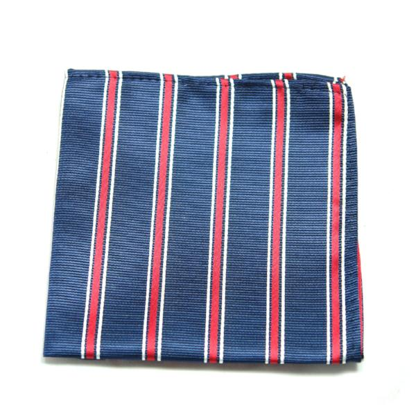 BRUME - Blue & Red Stripe Pocket Square - Cy's Topshelf