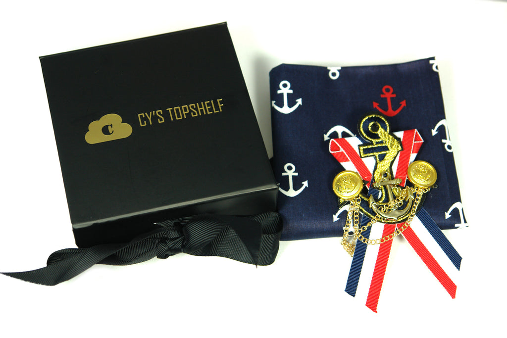 2 in 1 Gift Set - Pocket Square and Lapel Pin - Cy's Topshelf