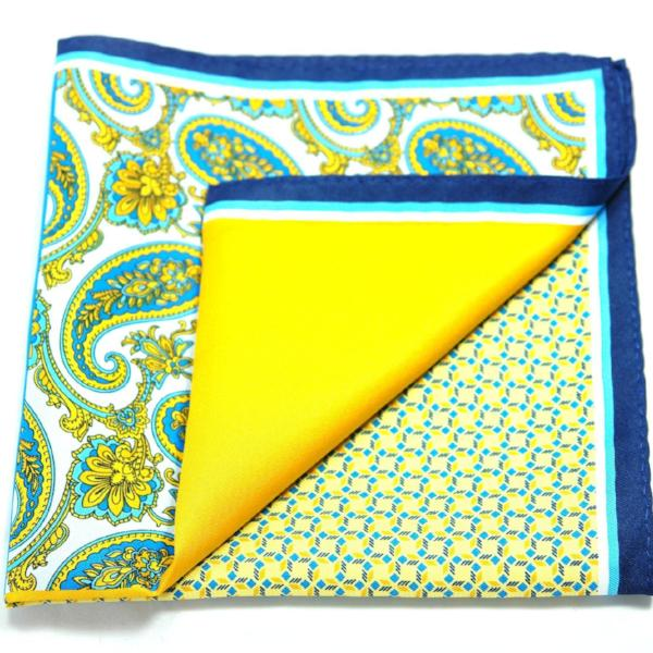 ERHUS- Men's Blue & Yellow Paisley 4 Way Pocket Square - Cy's Topshelf