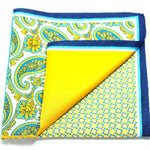 ERHUS- Men's Blue & Yellow Paisley 4 Way Pocket Square