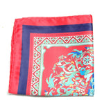 NORIEN- Men's Red Vintage Floral print Pocket Square