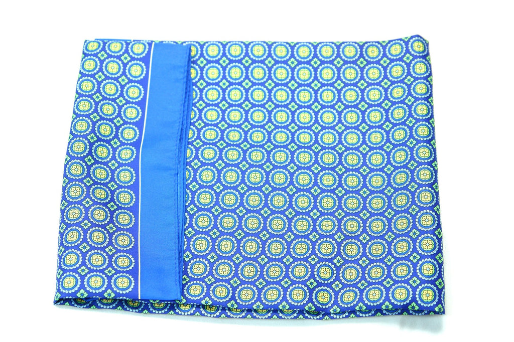 VAIRO - Blue Circle Motif Print Pocket Square