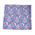 FEJIRO - Blue & deep Red Paisley Pocket Square