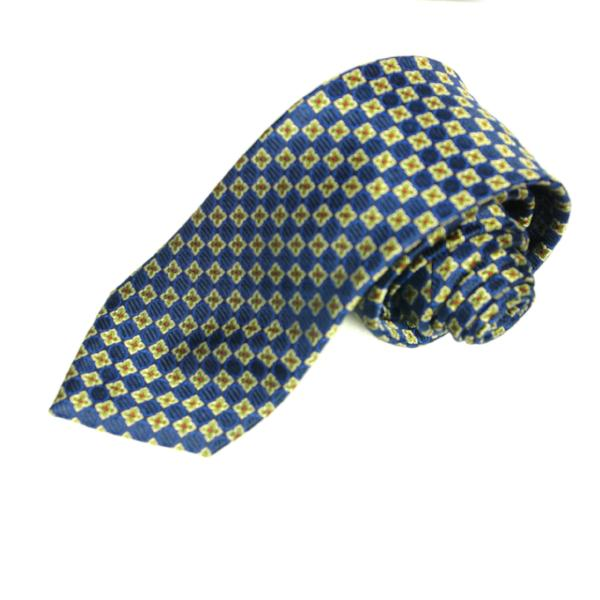 Men's  Blue and Gold Squared Geometric Silk Tie - Cy's Topshelf