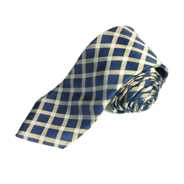 Men's Luxury Blue and Gold Gingham Woven Silk Tie - Cy's Topshelf