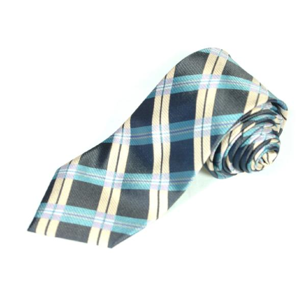 Men's Luxury Blue and Cream Checked Plaid Woven Silk Tie - Cy's Topshelf