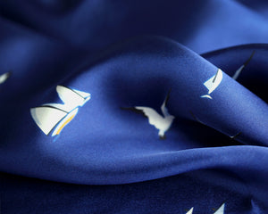 EME- Blue and White Sailboat Print Silk Pocket Square - Cy's Topshelf