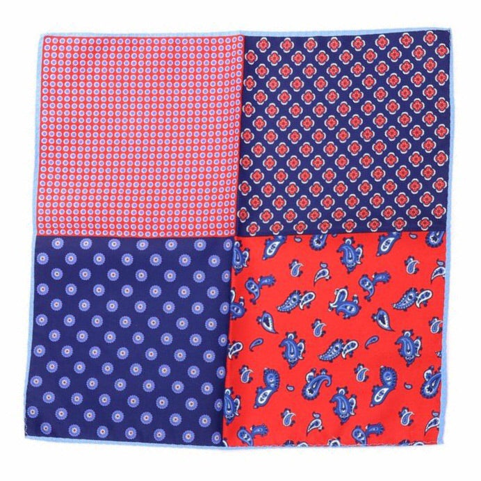 VOKE- Men's Red & Blue 4 Way Pocket Square