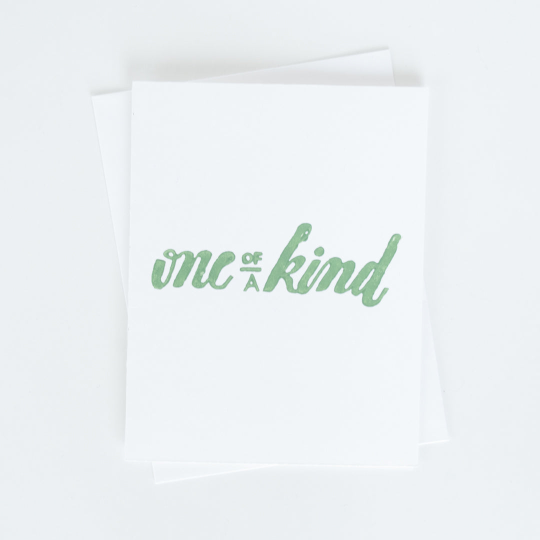 One of a Kind Typographic Card