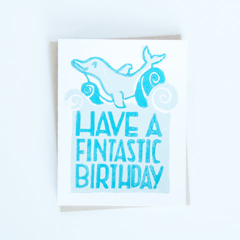 Dolphin Birthday Block Print Card