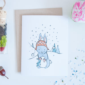 Bunny Snowflake Holiday Greeting Card