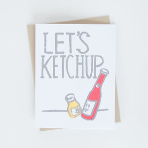 "On sale, ketchup and mustard illustration with words ""Let's ketchup"" greeting card"
