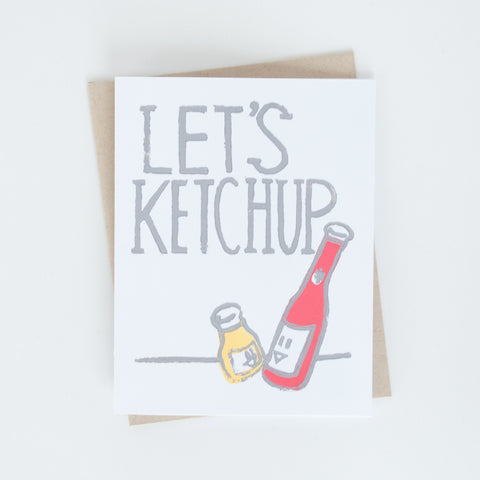 Let's Ketchup Block Printed Card