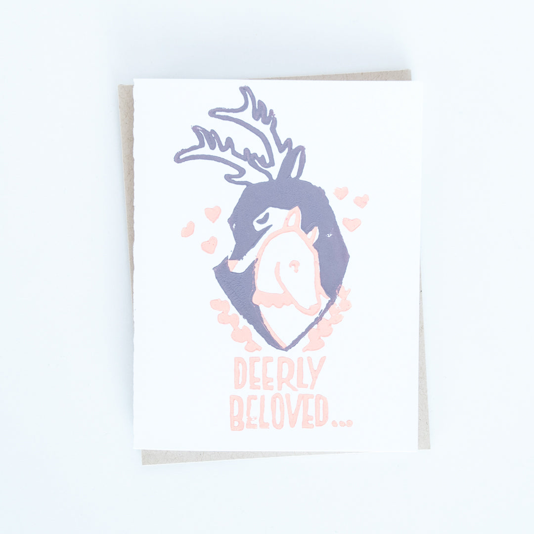 "On sale, two deers hugging illustrated wedding card with words ""Deerly beloved..."""