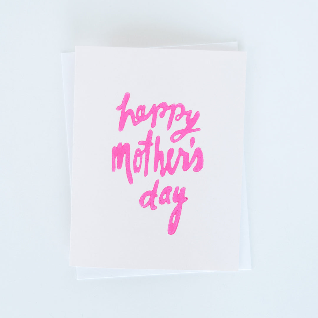 Mother's Day Handlettering Block Printed Card