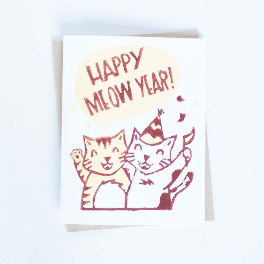 "On sale, cats celebrating new years illustration with words Happy Meow Year"" card"