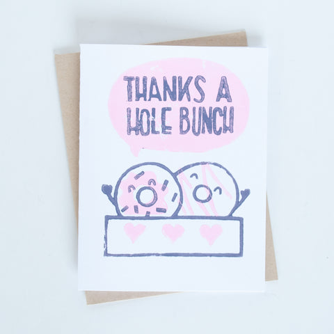 Thanks a Hole Bunch Doughnut Block Printed Card