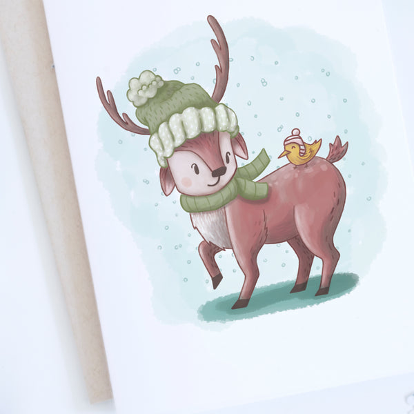 Close up of deer wearing toque holiday card