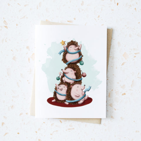 Hedgehog Holiday Tree Pile Card