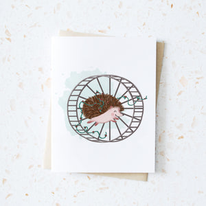 Hedgehog and Wheel Holiday Card