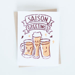 Saison Greetings Holiday Block Printed Card