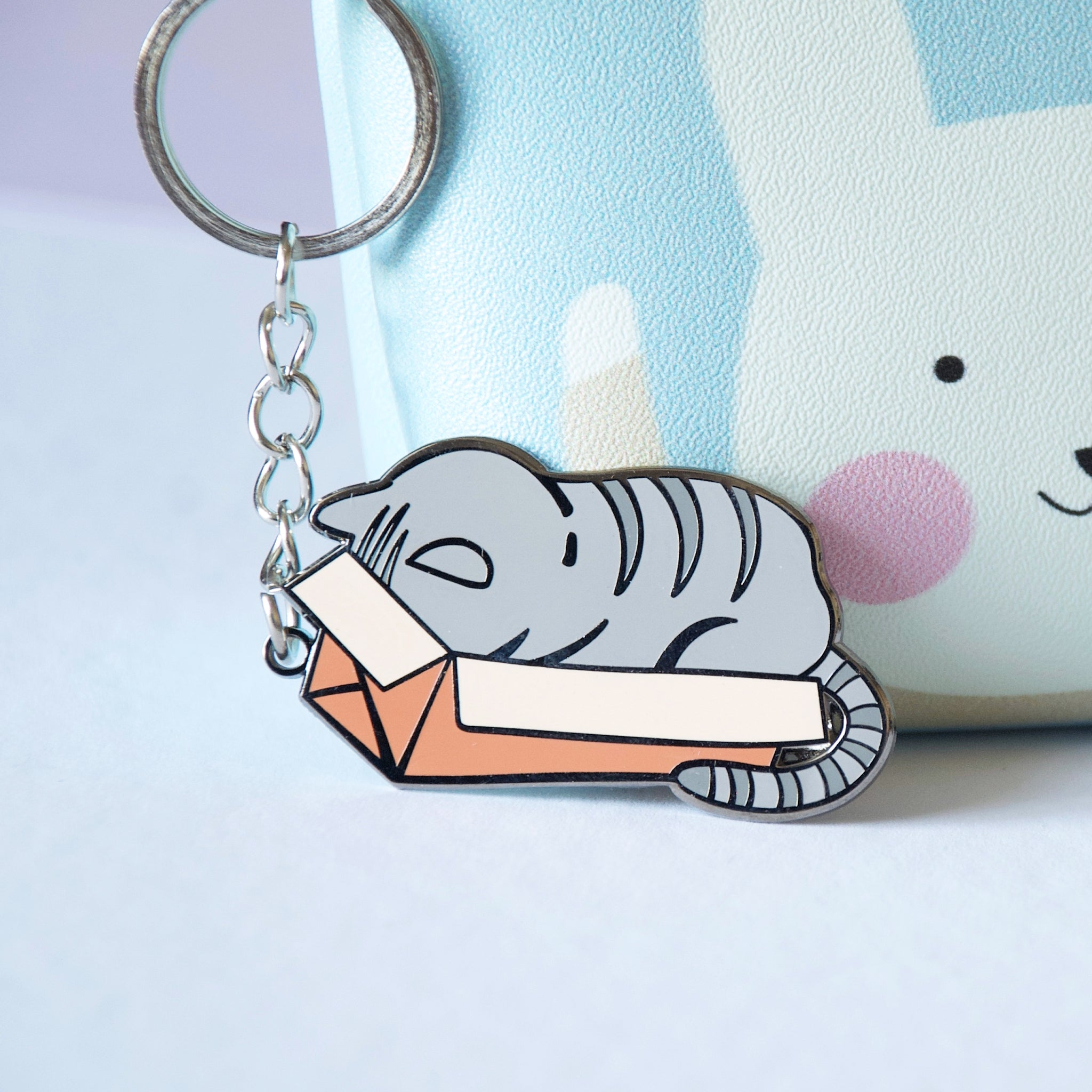 Grey Cat in a Box Keychain