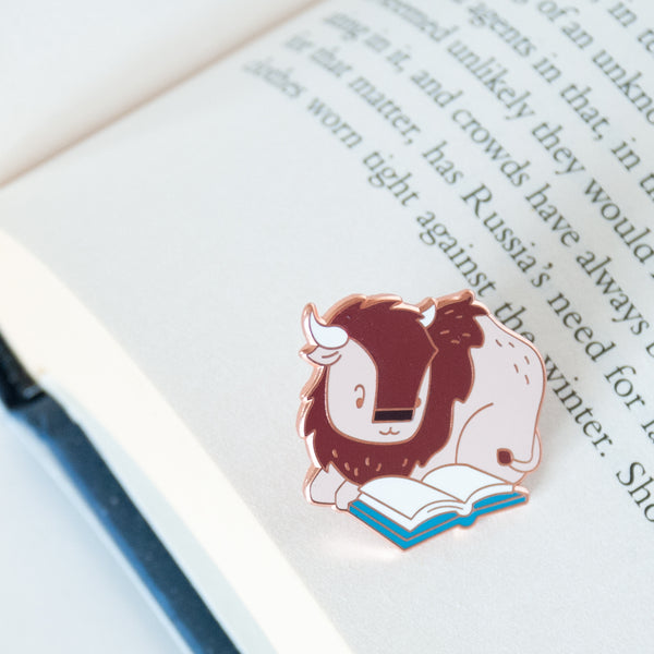 Bison reading a book hard enamel pin
