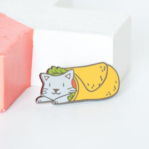Grey cat wrapped up in a burrito, tortilla wrap enamel pin