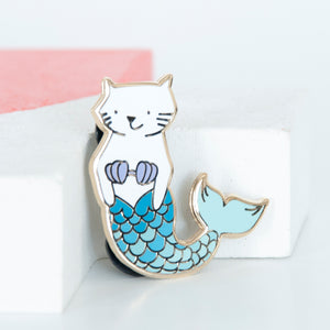 White cat mermaid with turquoise scales enamel pin