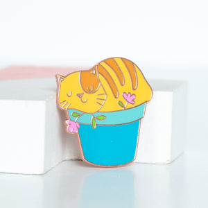 Tabby Cat in a Planter Enamel Pin