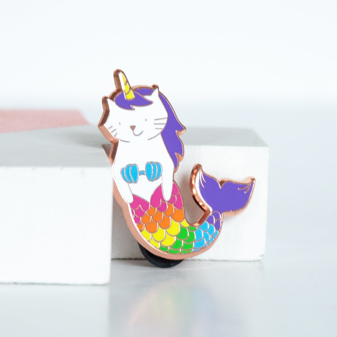 Rainbow coloured cat mermaid unicorn enamel pin