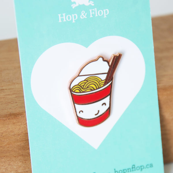 Cup of Instant Noodles pin on a branded card