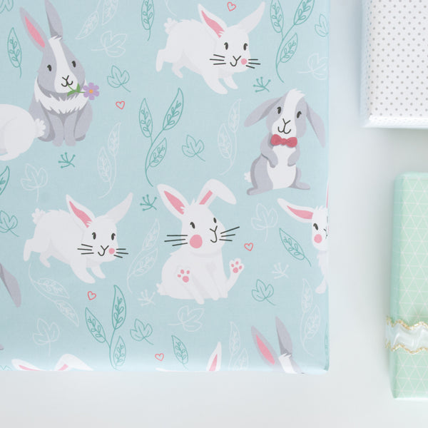 Close up of the bunny patterned gift wrap