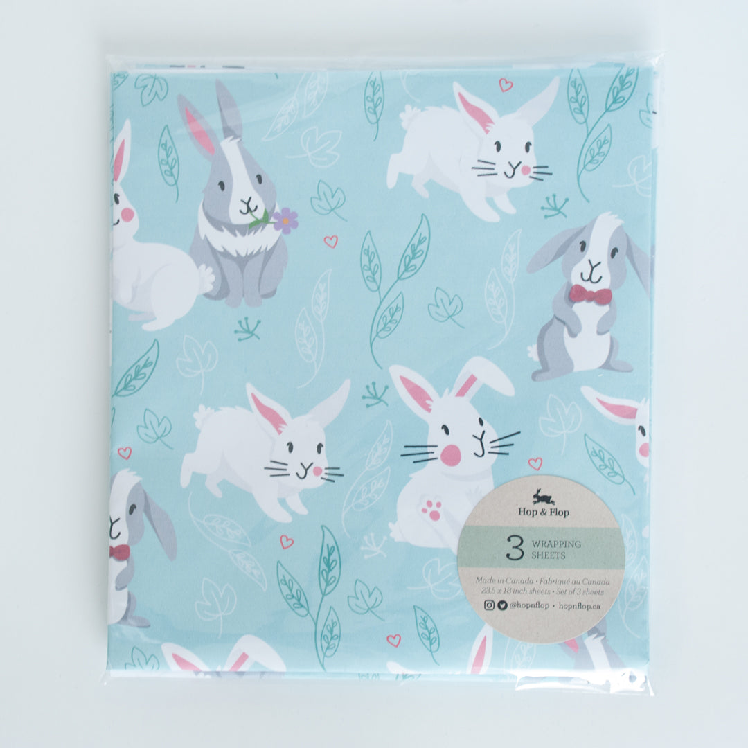 Set of 3 sheets of a cute bunny pattern gift wrap