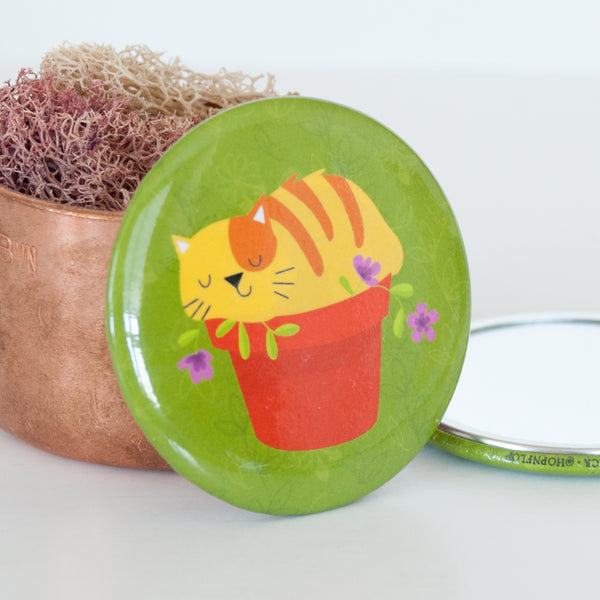 Close up of the Cat in flower pot mirror