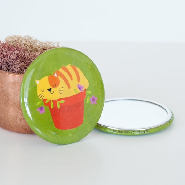 Cat and Planter Pocket Travel Mirror
