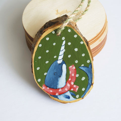 Hand Painted Animal Wood Ornament