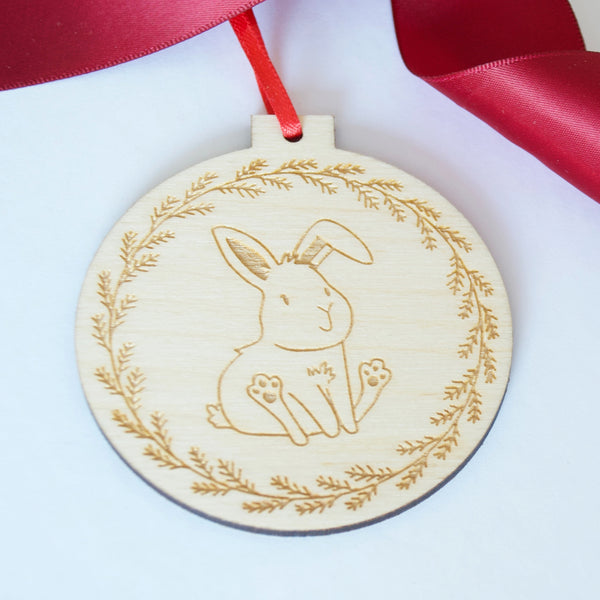 Bunny Wood Ornament