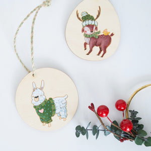 Hand Painted Deer or Llama Wood Ornament