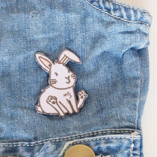White Bunny Embroidered Iron On Patch
